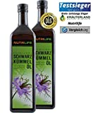 Nutrilife Schwarzkümmelöl, ungefiltert, kaltgepresst, 100% naturrein und naturbelassen, 2x 1000ml, Frischegarantie: täglich mühlenfrisch direkt vom Hersteller Kräuterland (2 Liter)