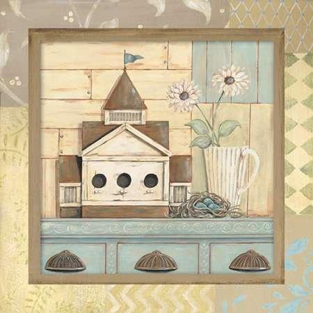 Feelingathome.it, STAMPA SU TELA 100% cotone INTELAIATA Birdhouse I cm 61x61 (dimensioni personalizzabili a