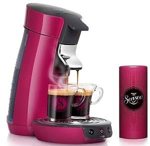 Philips HD7825/45 Cafetière SENSEO® à dosette Viva Café Rose framboise + 2 tasses & boite à dosettes assorties