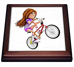 3dRose trv_239808_1 Cartoon girl Riding Bike Doing wheelie Trivet with Ceramic Tile, 8 x 8, Natural