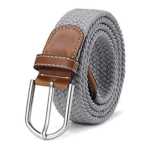Energy Colors Cinturón Elastico Trenzado para hombres y mujeres desde la talla 40 hasta 54. (Gris)