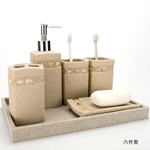 Hjky bathroom accessories set bagno di sabbia 5 pezzo semplice kit di cortesia in resina con - Amazon accessori bagno ...