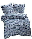 2 tlg. etérea Fein Biber Bettwäsche Abigail Streifen Hellblau Blau, 155x200 cm + 80x80 cm
