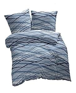 2 tlg. etérea Fein Biber Bettwäsche Abigail Streifen Hellblau Blau, 140x200 cm + 70x90 cm