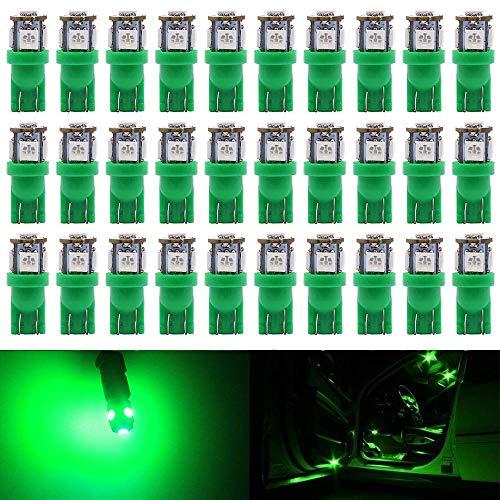 AMAZENAR 30-Pack 24V Green 194 T10 168 2825 W5W Ampoule 5050 5 SMD LED pour l'éclairage de Dôme de Carte Lampe de Courtoisie de Coffre Lumières de Tableau de Bord de Plaque D'immatriculation