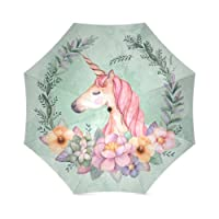 Tobe Yours Unicorn Princess Lovely Girl Kid Waterproof Material Sun/Rain All Wheather Foldable Umbrella(Best Gift)