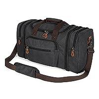 Plambag Mens Canvas Holdall Duffel Bag Travel Weekend Handbag 50L (Dark Grey)