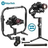 FeiyuTech Feiyu AK4000 Carga útil de estabilizador de cardán de 3 ejes 4 KG para cámara sin espejo y réflex digital + Juego plegable de doble mano Empuñadura doble + AKFI Follow Focus