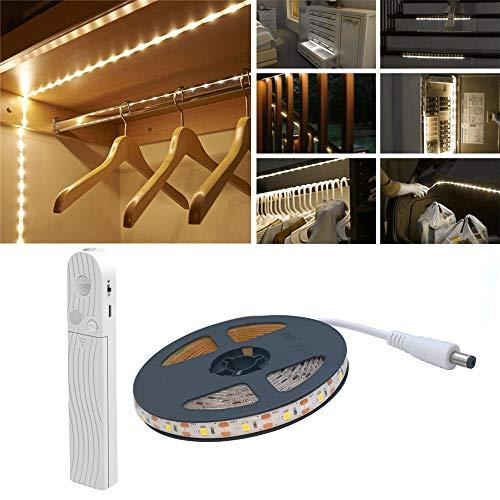 Wonsung Luz de armario para sensor de movimiento 2m 120 Leds 6500K Tira de LED blanca USB o con batería Temporizador, Interruptor de sensor día/noche para armario, Armario, Debajo del gabinete