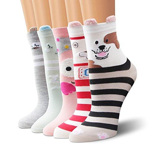Moliker Damen Socken Baumwolle 5 Paare gemustert weich bequem öko elastischer Saum (4004) Verrückte Knie-socken Für Mädchen