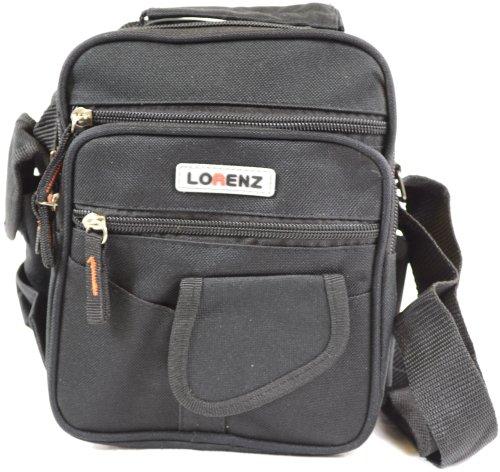Handy in tela, multiuso Lorenz-Borsa a tracolla, borsa da viaggio, colore: nero/cachi, colore: verde Nero (nero)