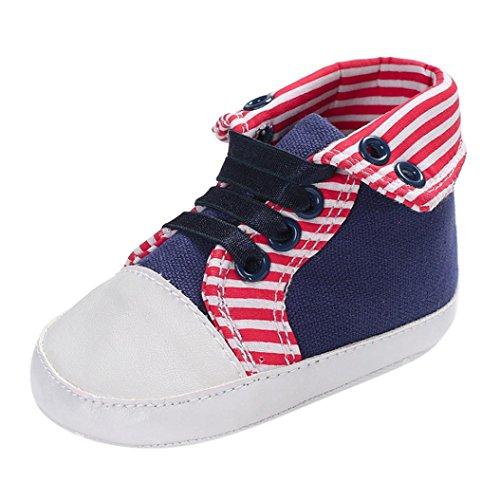 Schöne Streifen Round Toe Flats - Weiche Sohle Erste Wanderer - Startseite Warme Slipper Schuhe - Casual Sneaker für Baby Mädchen Jungen 0-6Monat 6-12Monat 12-18Monat (Blau, 0-6 Monat)