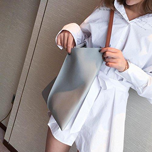 Fami- Sacchetti da spiaggia della borsa della borsa di acquisto della borsa della borsa di grande capacità della borsa delle donne Grigio