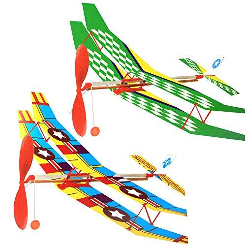Gogogo Flugzeug DIY Gummiband Angetrieben Doppeldecker Kinder Spielzeug (Flugzeug Gummiband Starten)