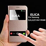 Samsung Galaxy On7 Prime Elica PREMIUM DOUBLE WINDOW Professional Window Leather Flip Cover for Samsung Galaxy On7 Prime - GOLD