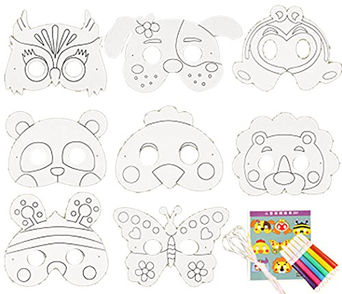 e Kinder Papiermaske Kreative Leere Malerei Der Karikatur WeißE Maske Mit Farbstiften (Leere Tier Masken)
