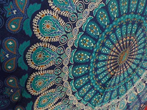 Craftozone Multicolored Mandala Tapestry Indian Wall Hanging, Bed Sheet, Comforter Picnic Beach Sheet, Quality Hippie (Turquoise, Single)