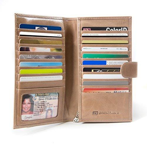 ID Stronghold RFID Wallet Credit Card Organizer - Große Clutch für Frauen - Beige - Large