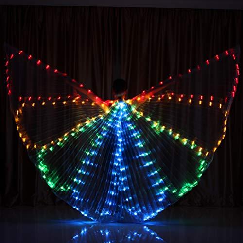 uchtanz Flügel Bee-Stil LED Glühende Tanz Flügel 360 Grad Große Flügel Tanz Requisiten buntes Licht, One Size ()