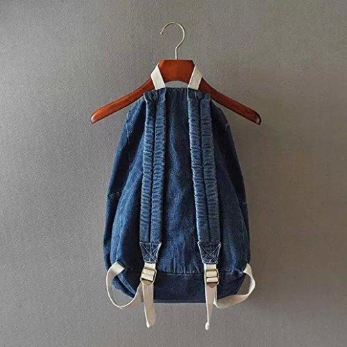 BZLine® Fashion Denim Travel Rucksack Taschen Schultasche Rucksack, 43*34*14cm Dunkelblau