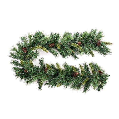 Decoración Navidad - Guirnalda Muy Grande de árbol artificial + piñas - Longitud 180 cm - Color VERDE