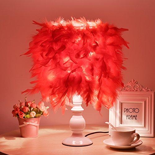Feder Lampe, kreative Mode romantisches Schlafzimmer Nachttisch Lampe, Schreibtisch, Lampe, Licht, ehe Zimmer, C rot Lichtschalter