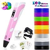 PLUSINNO 3D Drucker Stift DIY Scribbler 3D Stereoscopic Printing Pen mit LCD-Bildschirm + 13 PLA Filament (10 10 Papier Modelle für die Praxis der EU(Rosa)