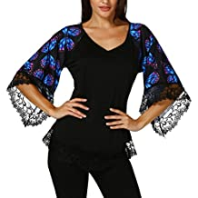 DAYSEVENTH Womens Butterfly Raglan Sleeve T-Shirt With Lace Trim Top Blouse