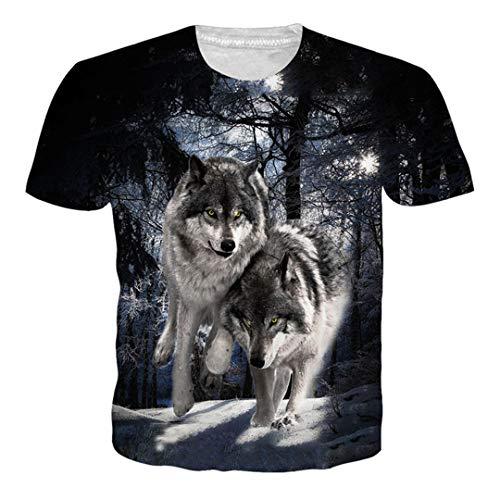 Assassin Kostüm Dark - Harajuku Wolf 3D Printed T Shirt Herren Damen Kurzarm T-Shirts Sommer Style T Shirt O-Neck Kleidung Dark Grey M