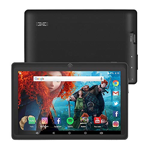 7 Zoll Tablet Google Android 8.1 Quad Core 1024x600 Dual Kamera Wi-Fi Bluetooth 1GB/8GB Play Store NetFilix Skype 3D Spiel Unterstützt GMS Zertifiziert mit Einem Jahr Garantie (Schwarz) 3g Wifi Bluetooth