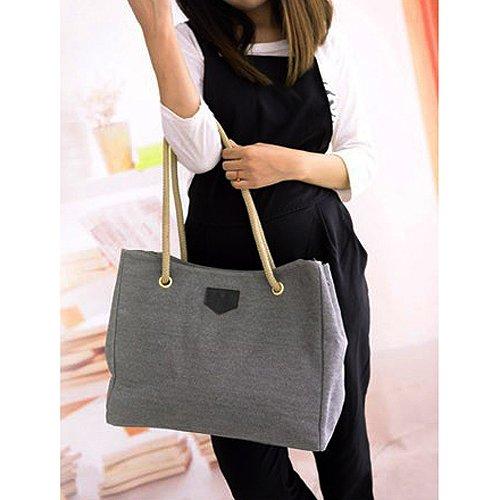 TOOGOO(R) Nuovo Canvas Handbag personalita contratta Grande borsa singolo o doppio sacchetto di corda spalla per la donna BJF081 - Nero grigio