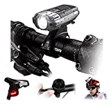 Beleuchtung Fahrrad 3–hibote Beleuchtung Leuchtturm vorne und hinten wiederaufladbar via USB Multi Leuchtmodi