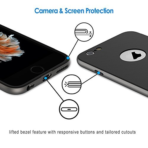 Jetech cover per iphone 6s plus e iphone 6 plus, custodia con assorbimento degli urti e fibra di carbonio, grigio