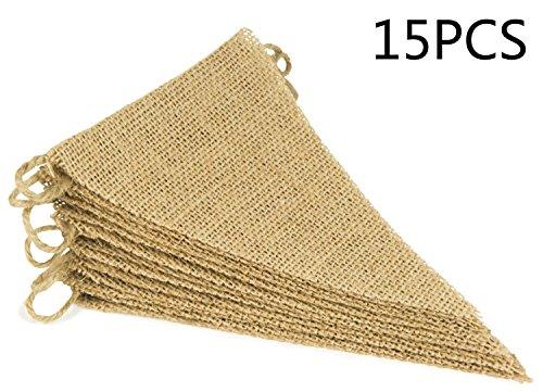 DIY Vintage banderas banderines de arpillera pancarta con 15Banderín Triangular para cumpleaños boda Navidad decoración, 14ft