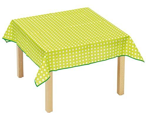 Betzold  53470 - Tischdecke quadratisch (120 x 120 cm) – Kindertischdecke Grün mit Punkte, abwaschbar