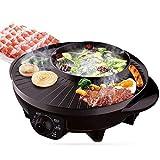 Elektrische Hot Pot gegrillte Mehrzweck BBQ Antihaft-elektrische Grillpfanne 1600W, schwarz