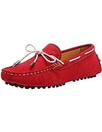 Shenduo Zapatos de cuero - Mocasines cómodos con cordones de moda para mujer D7051