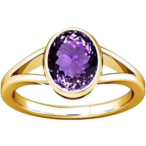 Divya Shakti 6.25 - 6.50 Ratti Amethyst Panchadhatu Ring ( Kataila / Jamunia Stone Ring ) 100% Original AAA Quality Gemstone (21.5)