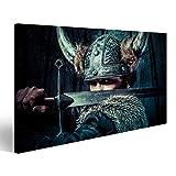 Cuadro Cuadros Defensa, guerrero vikingo, masculino vestido en estilo bárbaro con espada, con barba Impresión sobre lienzo - Formato Grande - Cuadros modernos EMT
