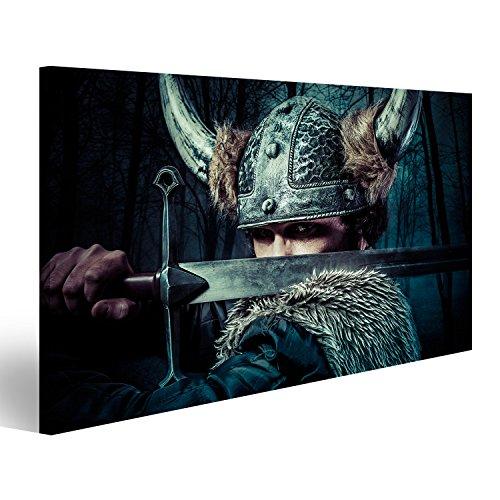 islandburner Cuadro Cuadros Defensa, Guerrero Vikingo, Masculino Vestido en Estilo bárbaro con Espada, con Barba Impresión sobre Lienzo - Formato Grande - Cuadros Modernos EMT