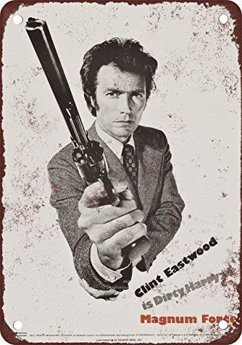DKISEE Aluminum Safety Sign 1973 Dirty Harry Magnum Force Vintage Look Reproduction Durable Rust Proof Warning Sign Aluminum Metal Sign 18