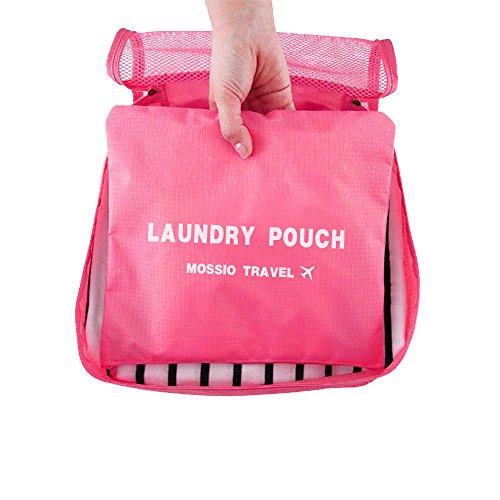 Packing Cubes,Mossio 7 Set Kleidertaschen mit Schuhbeutel - Reisegepäck Kofferorganizer Packtaschen Veranstalter Beutel (Weinrot) Dunkelpink