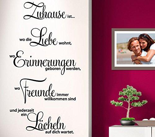 Wandtattoo-Günstig G001 Zitat Zuhause ist wo die Liebe wohnt ... Familie Liebe Wandaufkleber Wandsticker weiß (BxH) 58 x 107 cm