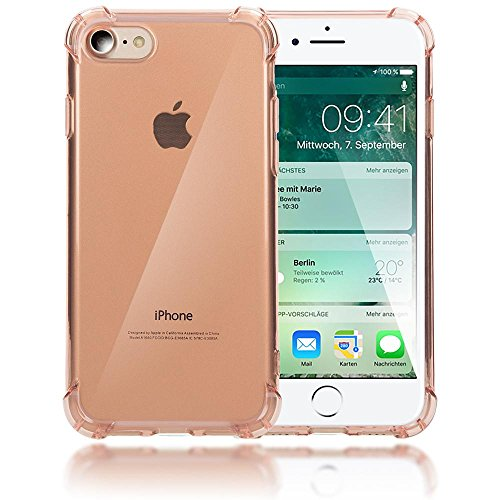 iPhone 8 / 7 Hülle Handyhülle von NICA, Ultra-Slim Silikon Case Cover Crystal Schutzhülle Dünn Durchsichtig, Etui Handy-Tasche Backcover Transparent Phone Bumper für Apple iPhone-7 / 8 - Transparent Rosa Gold