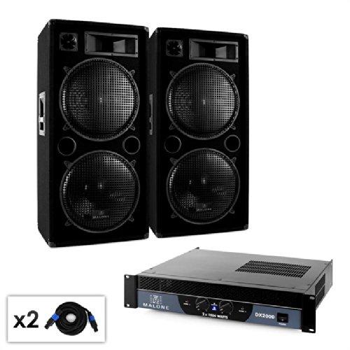 Set DJ Malone 2.0 'Bass' amplificatore 2000W 2 x casse