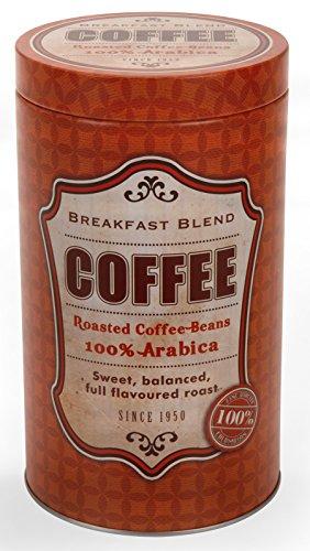 Unbekannt Kaffeedose Breakfast Blend Rund 11x19cm Stülpdeckel Aromadeckel Vintage Braun