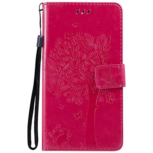 Tosim [LG X Power 2] Hülle Leder, Klapphülle mit Kartenfach Brieftasche Lederhülle Stossfest Handy Hülle Klappbar für LG X Power2 (LGM320N) - TOKTU55420 Rosa Rot