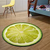 Muium Alfombra de la habitación de los niños Patrón de Frutas de Verano Redondo Terciopelo de Cristal Alfombra Cocina Baño 60# 80# 100cm  (60CM)