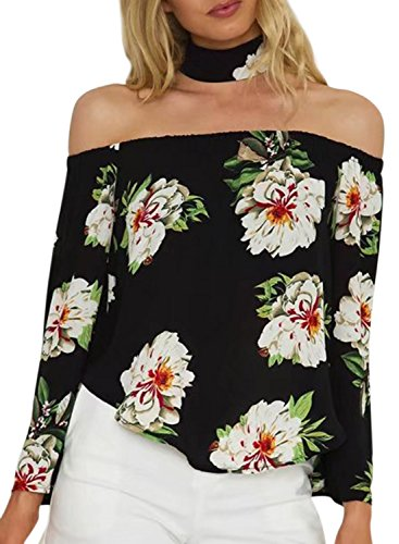 Azbro Women's off Shoulder Long Sleeve Floral Printed Blouse with Neckwear Navy