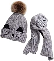 JFAN Set de Bufanda Gorro Niños Niñas Sombrero de Invierno para Niños Forro de Vellón 2-8 años Gorro de Pompón